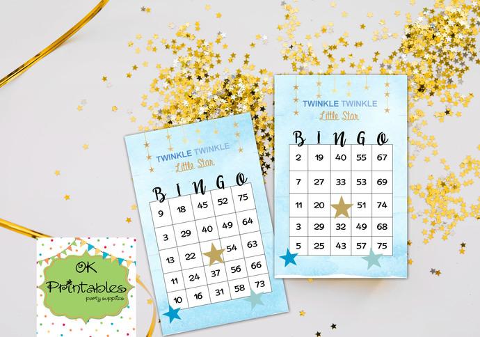30 Twinkle Twinkle Little Star Bingo cards - Printable Game Baby Shower -