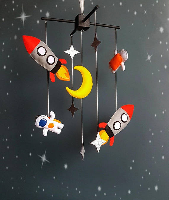 Baby crib mobile Space baby mobile solar system mobile Spaceship mobile