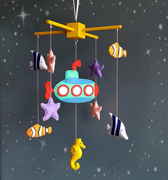 Baby crib mobile Submarine Ocean mobile Baby mobile Nautical mobile Baby fish