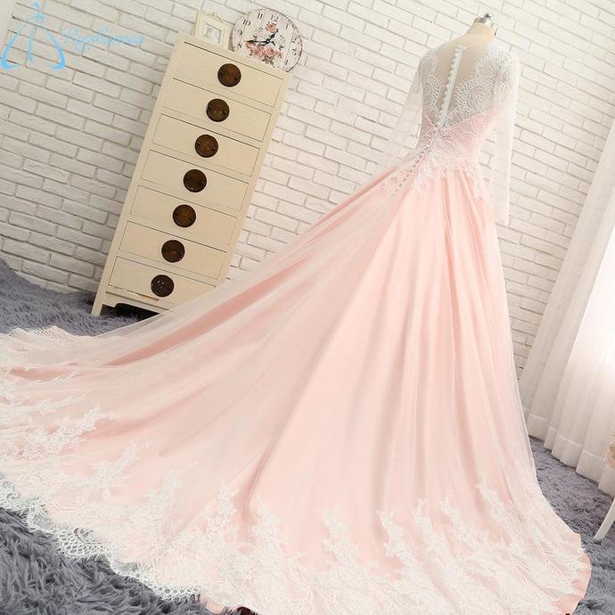 New V Neck Applique Blush Cheap Long Evening Prom Dresses