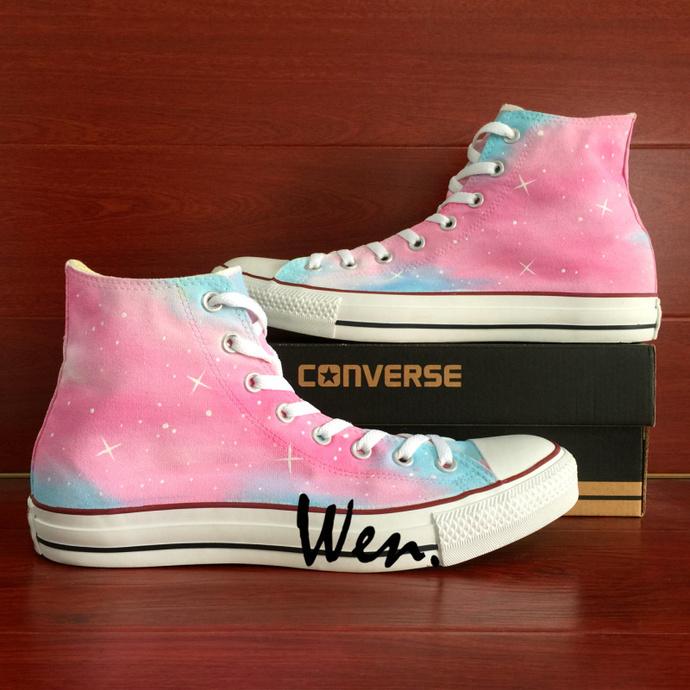 All Star Converse Pink Painting Original Design Galaxy Nebula Hand Painted
