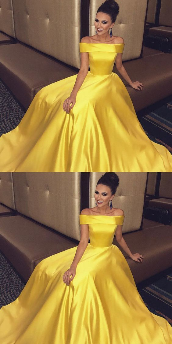 Off The Shoulder Long Satin Gold Prom Dresses by Dress Storm on Zibbet