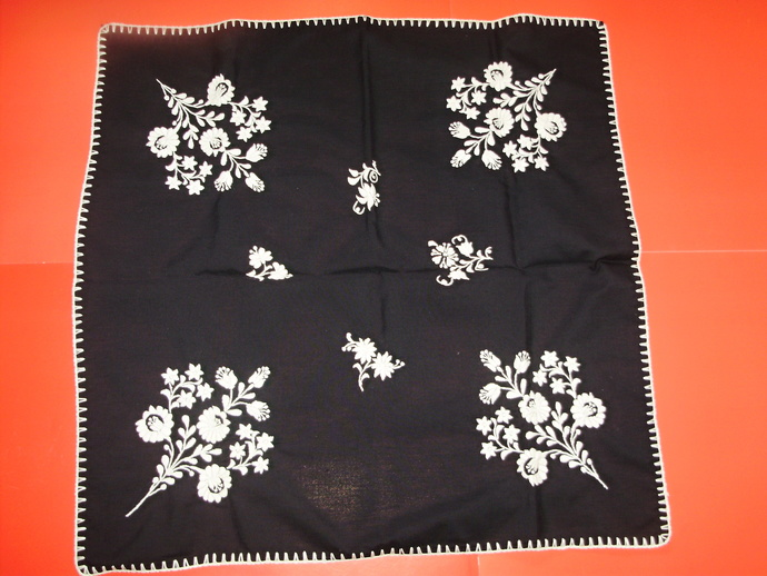 Vintage,Hungarian handmade embroidered black  tablecloth centerpiece,white