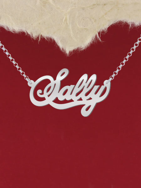 925 Silver Name Necklace Sally/Custom Name Jewelry/Personalized ANY NAME Plate