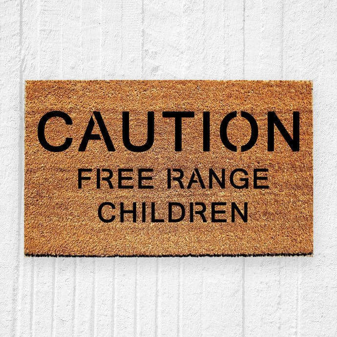 Caution Free Range Children Doormat | Welcome Mat | Door Mat | Outdoor Rug |