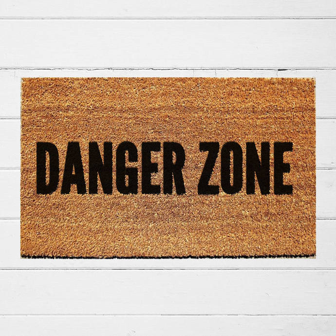 Danger Zone Welcome Doormat | Hand Painted Outdoor Rug | Funny Doormat |