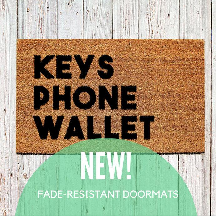 Fade Resistant Keys Phone Wallet Doormat | Embedded Nylon Welcome Mat | Outdoor