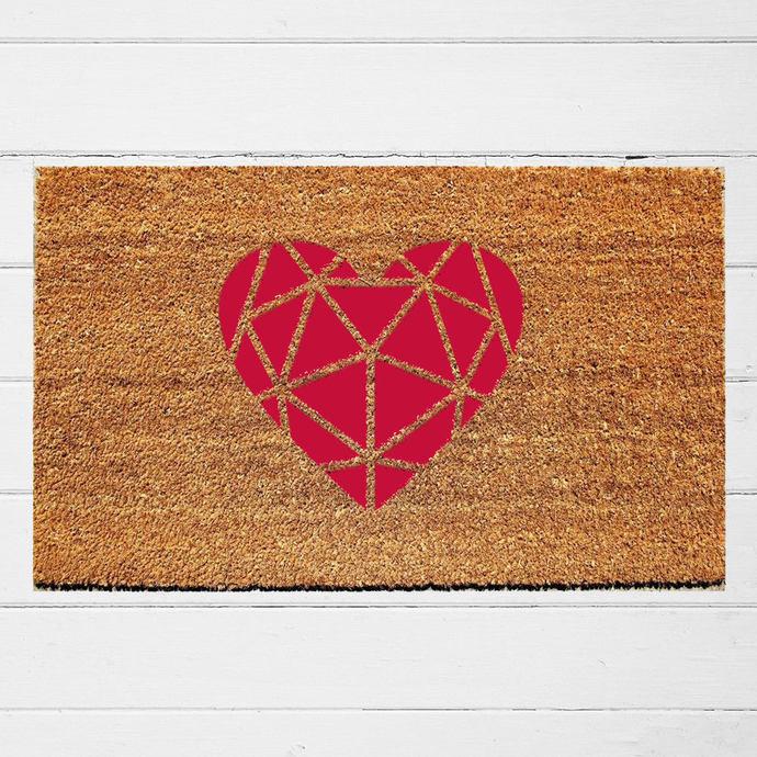 Geometric Heart Doormat | Welcome Doormat | Hostess Gift | Housewarming Gift |