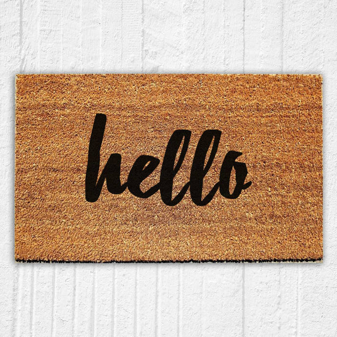 Hello Script Doormat | Welcome Mat | Door Mat | Outdoor Rug |  Housewarming Gift