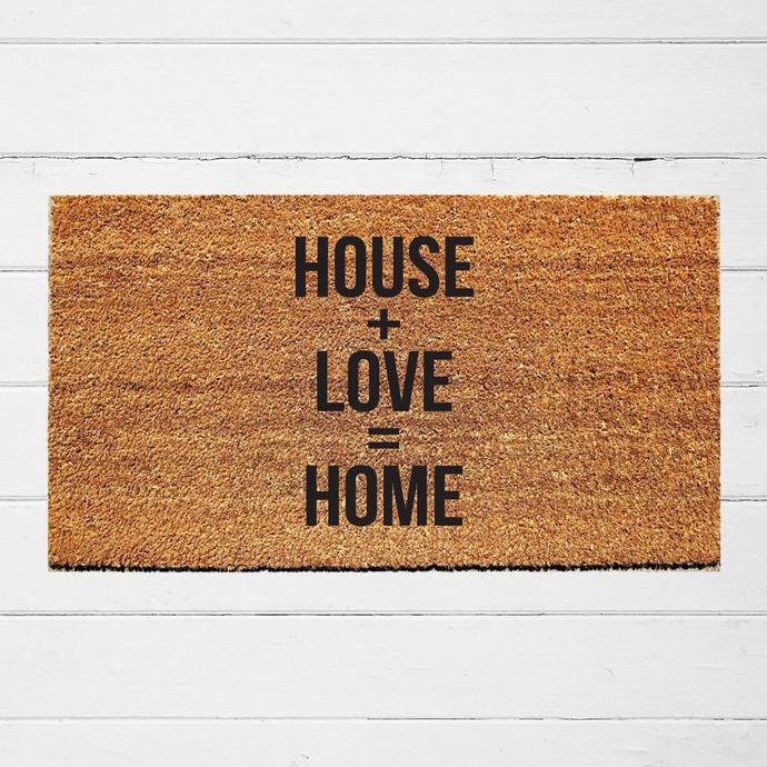 House + Love = Home Welcome Doormat | Outdoor Rug | Entry Rug | Welcome Mat |