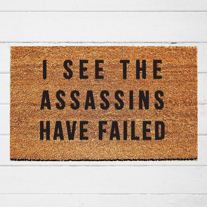 I See the Assassins Have Failed Doormat | Welcome Mat | Outdoor Rug |  Funny