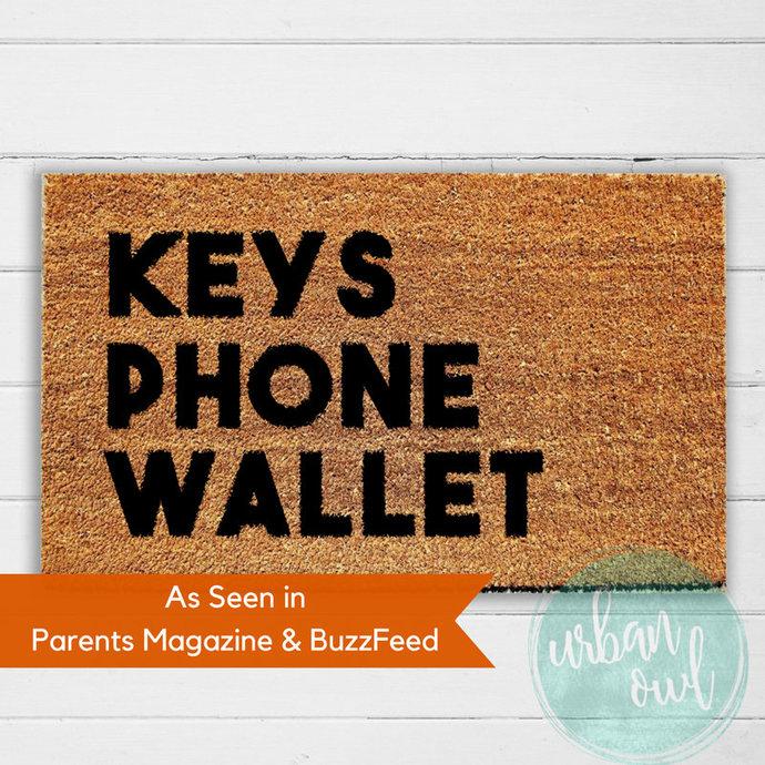 Keys Phone Wallet Doormat | Hand Painted Welcome Mat | Door Mat | Outdoor Rug |