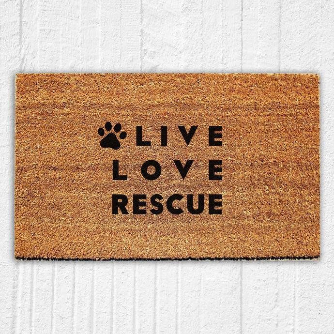 Live Love Rescue Doormat Welcome Mat | Door Mat | Outdoor Rug |  Animal Rescue |
