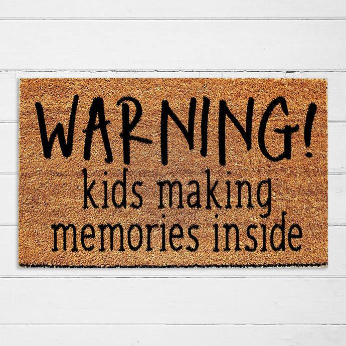 Warning! Kids Making Memories Inside Doormat | Outdoor Rug | Cute Doormat |