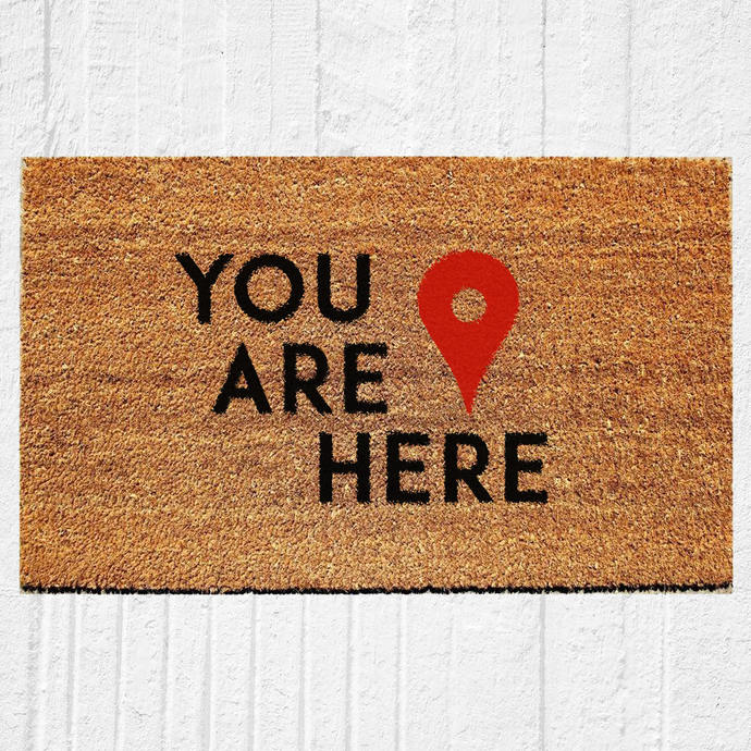 You Are Here Welcome Doormat | Hand Painted Outdoor Rug | Home Decor |