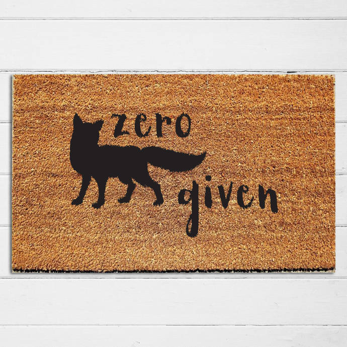 Zero Fox Given Doormat | Funny Doormat | Doormat Humor | Fox Decor |