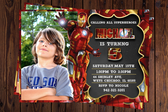 Iron Man Photo Birthday Invitation PRINTABLE