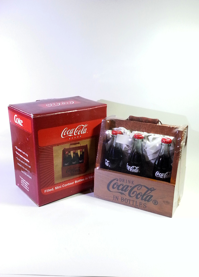 "90's Coca Cola Six 3"" Mini Glass Bottles w/ Red Coke Caps In Wooden Crate"