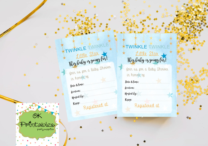 Twinkle Twinkle Little Star Baby Boy Shower Invitation- Digital File- Fillable