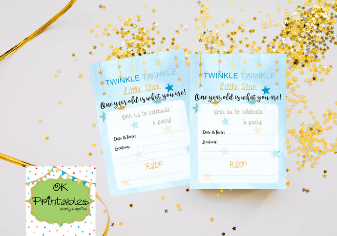 Twinkle Twinkle Little Star Baby Boy Birthday Invitation- Digital File- Fillable