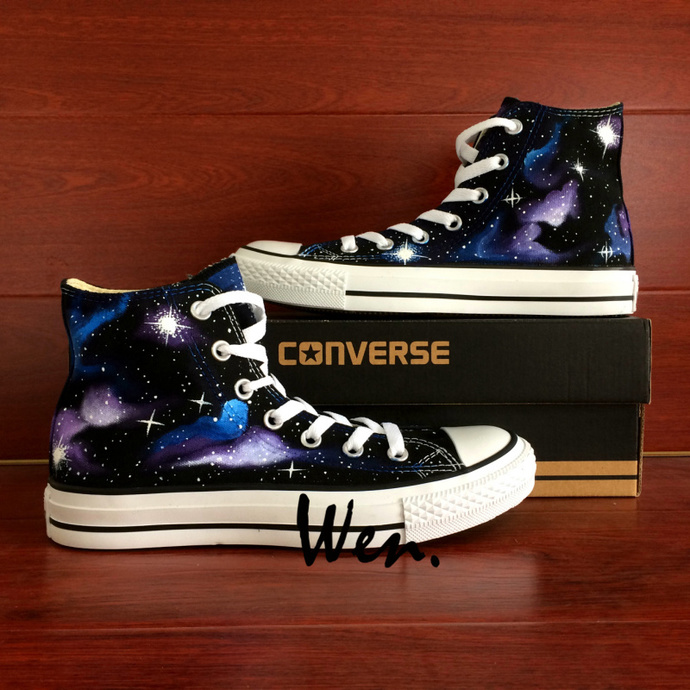 Chuck Sneakers Converse Original Design Galaxy Nebula Space Stars Hand Painted