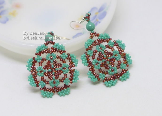 PDF Tutorial - Vasilisa Earrings Digital Beading Pattern Beadweaving Instruction