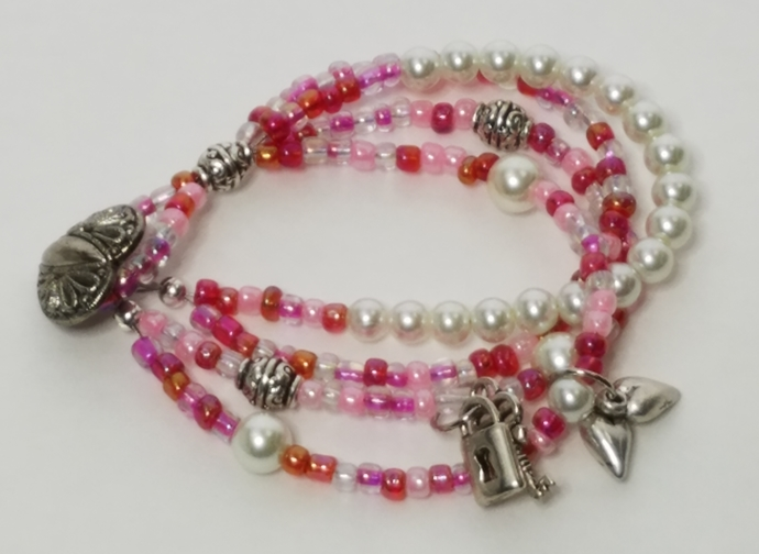 Pink Czech Seed beads, Pearl Multi Strand, Button Clasp, Valentine Day Heart