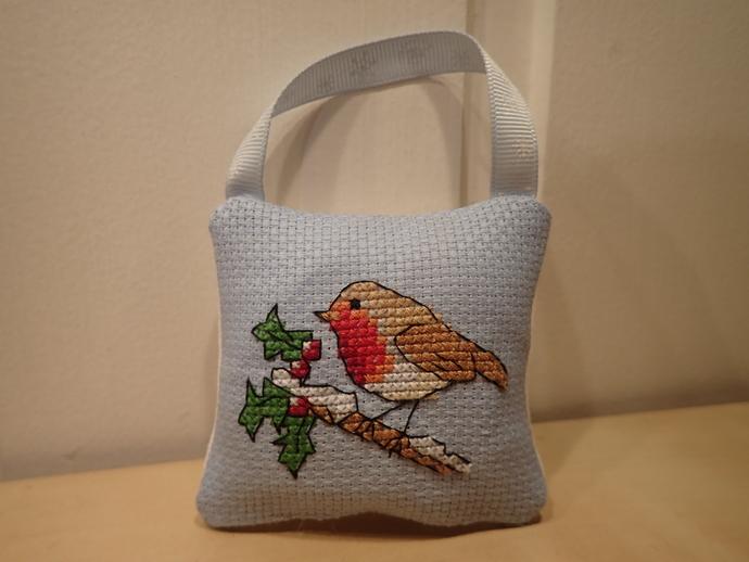 Cross stitch Christmas pillow ornament - Bird on branch