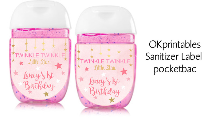 Twinkle Twinkle Little Star Pink and Gold sanitizer labels, sanitizer label 1oz,