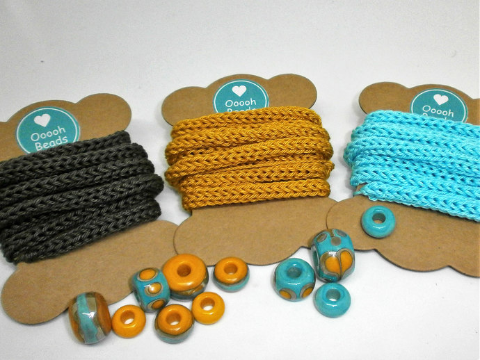 A Barrel Bead Set from my Sari Silk Series in Sunny Yellow and Light Turquoise