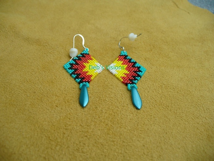 Native American Style Brick Stitched Geometric Earrings in Azure Blue with the