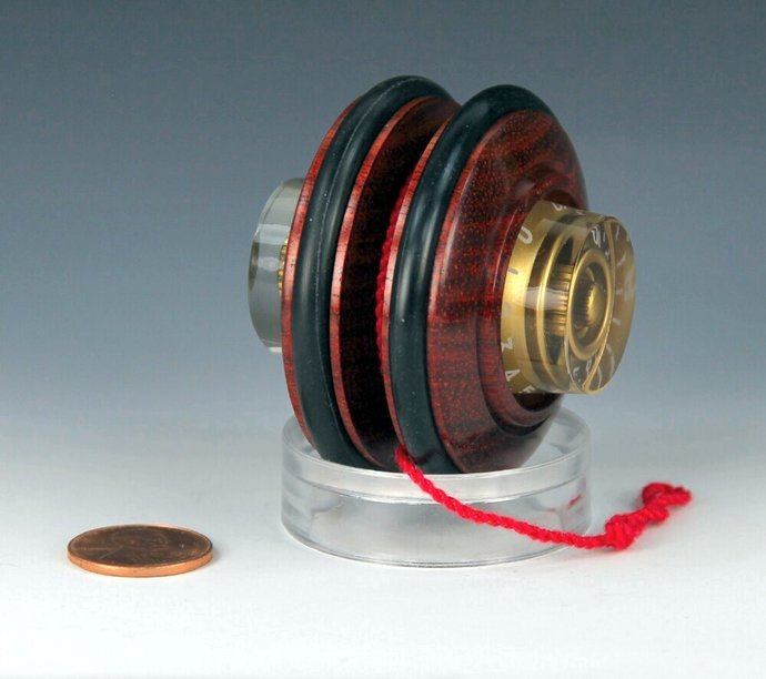 Handmade Toy YoYo, Fixed Axle, Brazilian Bloodwood with Electric Guitar Features