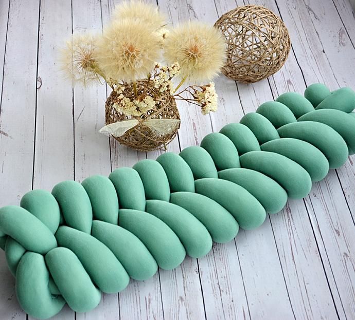 Knot pillow, Knot cushion, Decorative pillow,  Fishtail pillow, Green cushion,