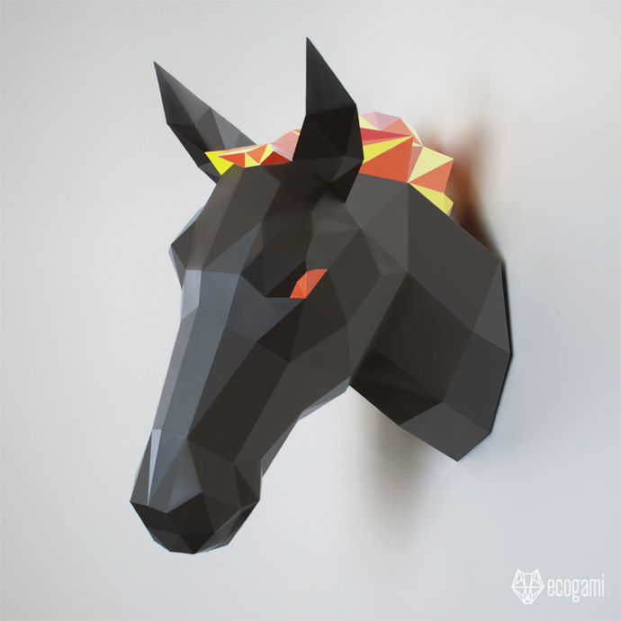 Papercraft horse | DIY wall mount | 3D paper sculpture | Printable &