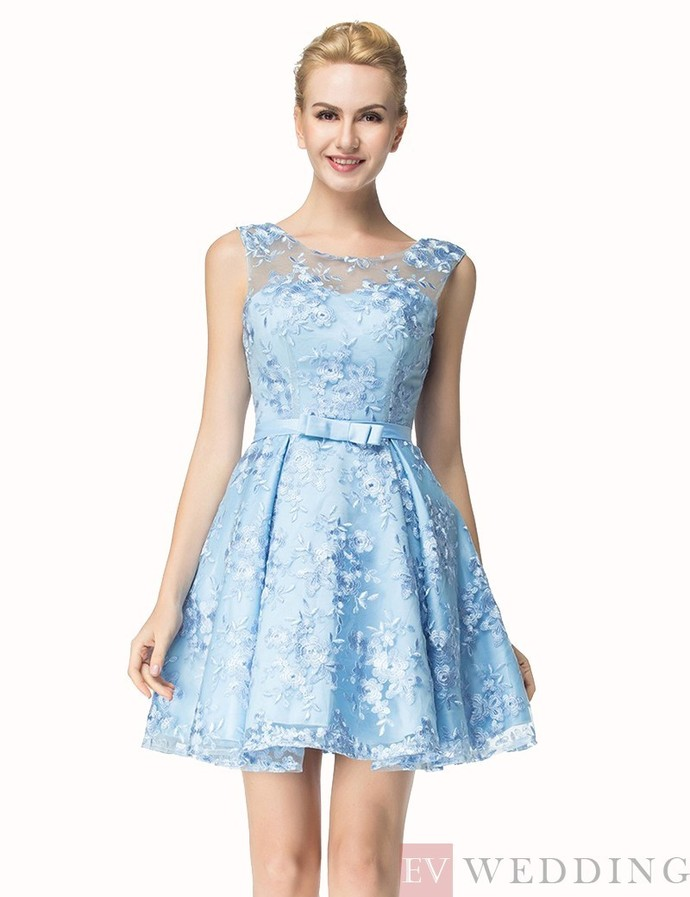 A-Line Lace Crew Neck Sleeveless Light Blue Bowknot Short Prom Homecoming Dress
