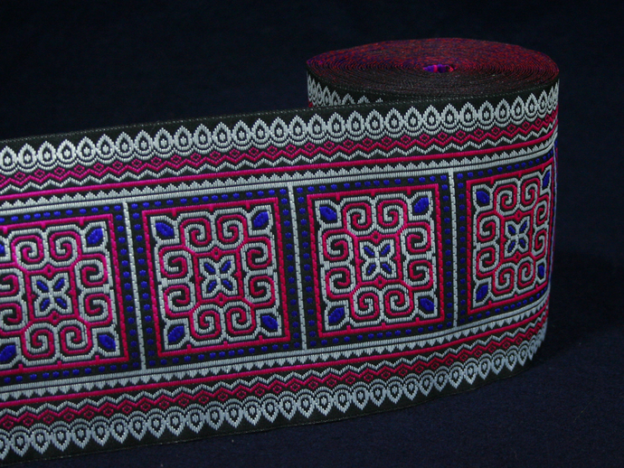 10 cm x 1 m • White/Pink/Blue Traditional Hmong Square Pattern Trim Ribbon