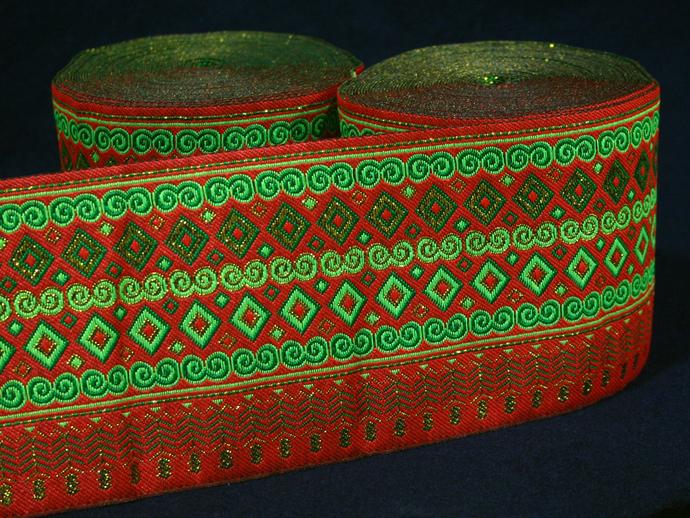 10 cm x 1 m • Orange/Green/Gold Traditional Hmong Diamond Square Pattern Trim