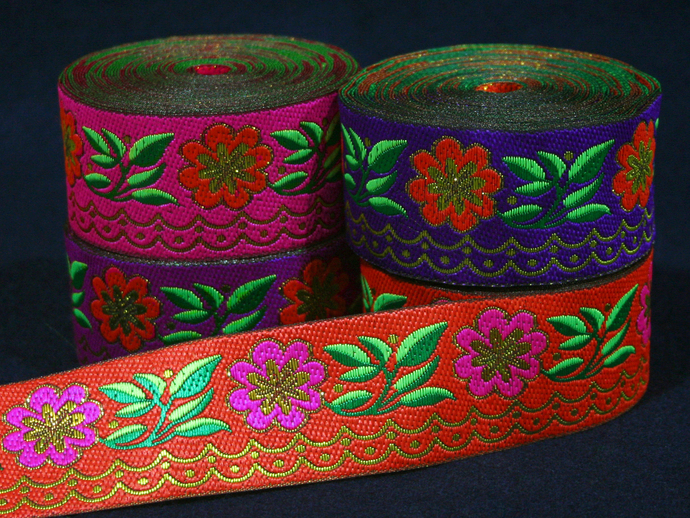 4cm x 1 m • Orange/Pink/Purple/Violet Flower Pattern Trim Ribbon