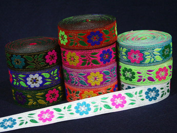 2.5 cm x 1 m • Flower Pattern Fabric Trim Ribbon