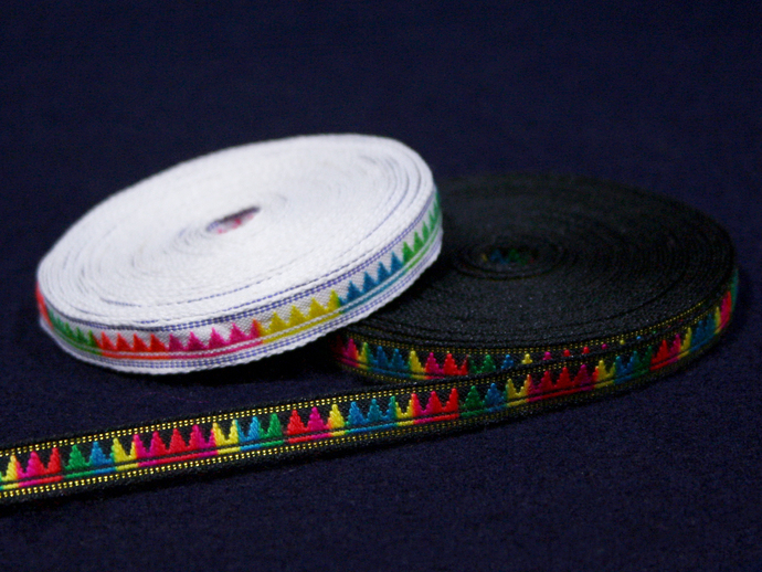 1 cm x 1 m • Rainbow/Black/White Triangle Pattern Fabric Trim Ribbon