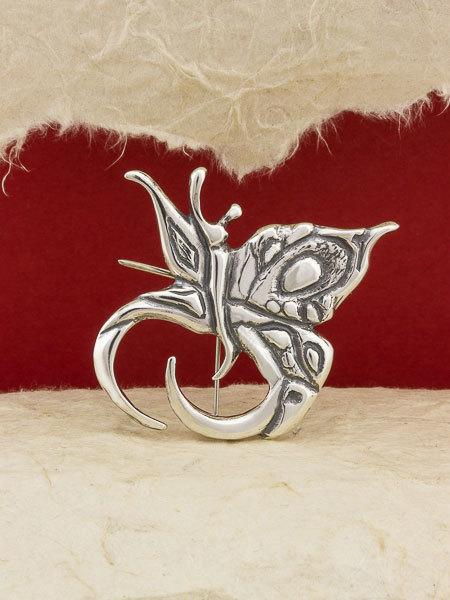 Silver Butterfly Brooch/925 Sterling Silver Brooch/Handmade Brooch/Silver Pin