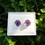 Amethyst Earrings Studs Sterling Silver 925 Handmade Gemstone Jewelry Αμεθυστος