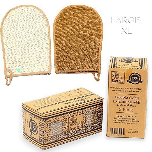 Lulu Essentials Natural Double Sided Exfoliating Mitt Glove