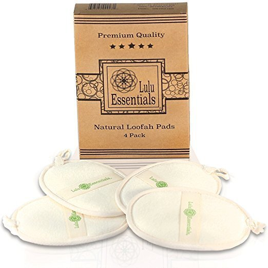 Lulu Essentials Natural Loofah Pads (4 Pack) Large Bath Body Sponge, Shower