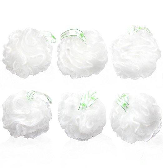 ulu Essentials Premium Quality Loofah (6 Pack) Snow White Puffs