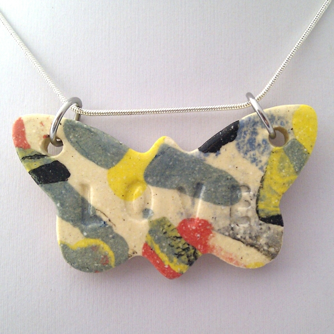 Butterfly Love Ceramic Pendant