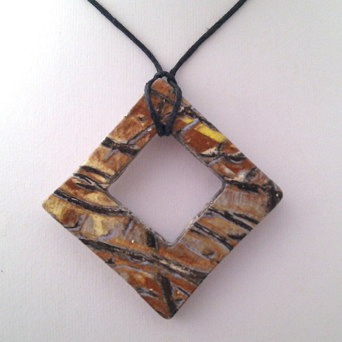 Ceramic Pendant Brown Abstract