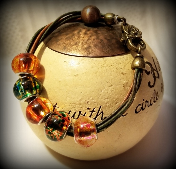 Bohemian Bead and Leather Bracelet