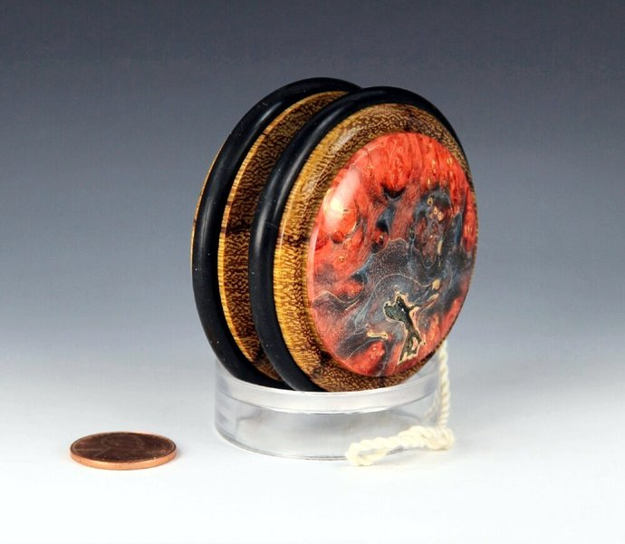 Handmade Toy YoYo, Fixed Axle Imperial, Marblewood With Dyed Maple Burl Caps