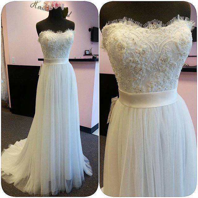 Custom Made Beaded Embroidery Sweetheart Neckline Eyelash Lace Tulle